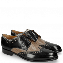 Derby Schuhe Henry 23 Black Tongue Python Print Off White