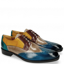 Derby Schuhe Jeff 14 Mid Blue Oxygen Bordo Yellow Abyss