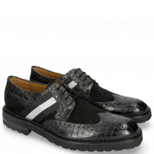Derby Schuhe Eddy 25 Crock Black Suede Pattini Black