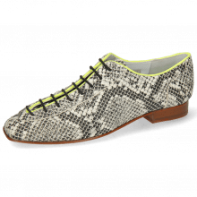 Oxford Schuhe Sofia 6  Snake Off White Binding Lycra Fluo Yellow