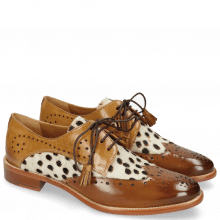 Derby Schuhe Betty 3 Wood Hairon Wildcat Sand