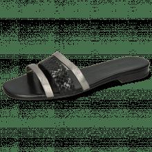 Pantoletten Elodie 33 Talca Steel Woven Black Footbed