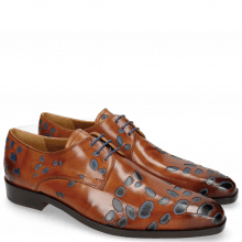 Derby Schuhe Lewis 8 Tan Underlay Electric Blue