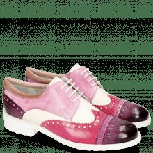 Derby Schuhe Amelie 85 Vegas Viola Eggplant White Lilac Glove Nappa Rose