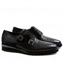 Monk Schuhe Amy 1 Baby Croco Black Hair On Black Cut Angel Black