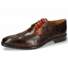 Derby Schuhe Lewis 3 Big Croco Mid Brown Winter Orange