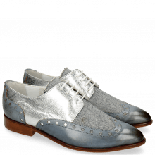 Derby Schuhe Jessy 38 Moroccan Blue Denim Metal Silver