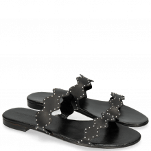 Pantoletten Hanna 45 Salerno Black Rivets Nickle