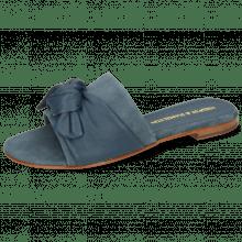 Pantoletten Hanna 65 Nappa Navy Beige Footbed