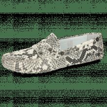Loafers Caroline 1 Snake Scale Black Off White Dots