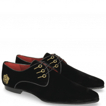 Derby Schuhe Sidney 7  Velluto Black Embroidery Crown