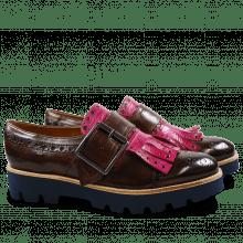 Monk Schuhe Amelie 52 Dark Brown Kilty Dark Pink Buckle Gunmetal 543 Blue