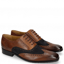 Oxford Schuhe Rico 15 Rio Mid Brown Suede Pattini Navy