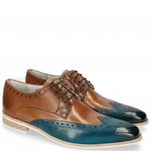Derby Schuhe Lewis 3 Dice Mid Blue Woody Crock Dark Brown