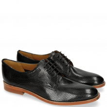 Derby Schuhe Amelie 14 Perfo Black Lining Rich Tan Collar
