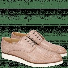 Derby Schuhe Jessy 5 Woven Galviston Light Rose Malden White