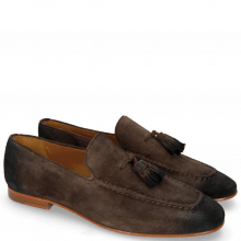 Loafers Clive 20 Suede Pattini Dark Brown