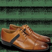Derby Schuhe Rico 26 Venice Crock Tan Rio Perfo Suede Pattini Navy
