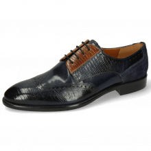 Derby Schuhe Bobby 1 Guana Navy Cognac Night Blue