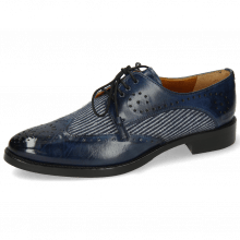 Derby Schuhe Betty 3 Mock Navy Textile Lines Blue Navy