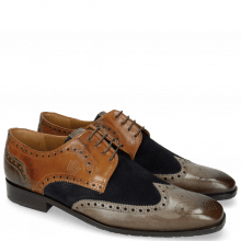 Derby Schuhe Xander 4 Rio Stone Wood Suede Pattini Perfo Navy