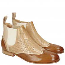 Stiefeletten Sally 19 Salerno Dark Tan Off White Perfo Cappu