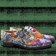 Derby Schuhe Keira 1 Snake Black White Orange Embrodery