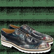 Derby Schuhe Carl 2 Brushoff Floral Navy