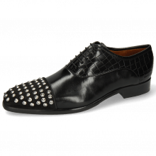 Oxford Schuhe Lance 23 Suede Pattini Crock Black Rivets