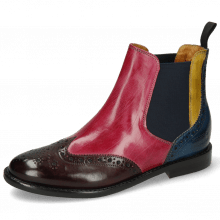 Stiefeletten Selina 6 Mulberry Pink Indy Yellow Ice Lake Elastic Navy Lining