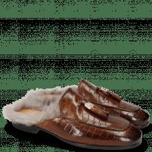 Pantoletten Clive 5 Crock Wood Fur Long Taupe