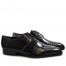 Derby Schuhe Woody 8 Black Rivets Gunmetal