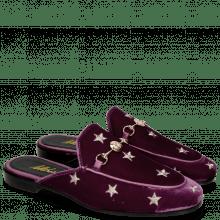 Pantoletten Scarlett 10 Velluto Viola Embroidery Stars