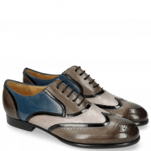 Oxford Schuhe Sally 38 Grigio Patent Black Grafi Gunmetal Mid Blue