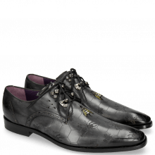 Derby Schuhe Elvis 42 Black Embroidery Bee