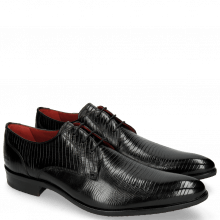 Derby Schuhe Toni 1 Lizzard Black Lining Red