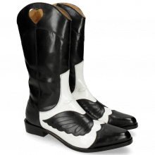 Stiefel Marlin 36 Black Soft Patent White Stitching Black