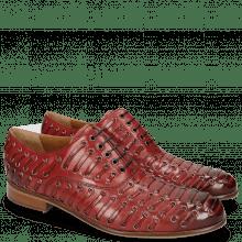 Oxford Schuhe Henry 25  Red Eyelet Gunmetal Lining
