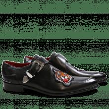 Monk Schuhe Toni 24 Black Tiger Patch