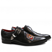 Monk Schuhe Toni 24 Black Tiger Patch
