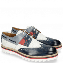Derby Schuhe Trevor 24  Navy Milled Perfo White