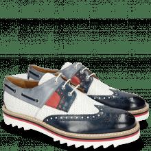 Derby Schuhe Trevor 24 Navy Milled Perfo White