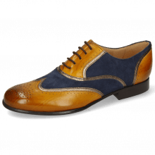 Oxford Schuhe Sally 38 Indian Yellow Nappa Aztek Gold Suede Navy