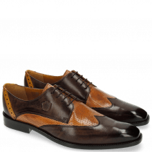 Derby Schuhe Martin 7 Berlin Perfo Dark Brown Tan Strap Yellow LS Brown