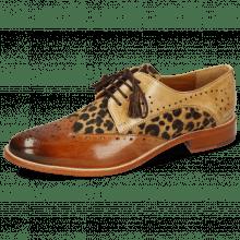 Derby Schuhe Betty 3 Tan Nude Hairon Leo Beige