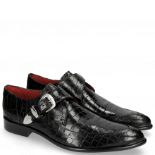 Monk Schuhe Toni 24 Crock Black Toe Gunmetal