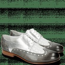 Derby Schuhe Sally 106 Grigio Nappa Perfo White Silver