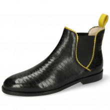 Stiefeletten Susan 67 Big Croco Black Binding Fluo Yellow