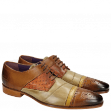 Derby Schuhe Elvis 14 Tan Verde Chiaro Big Croco Yellow Perfo Orange