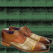 Derby Schuhe Elvis 14 Tan Verde Chiaro Big Croco Yellow Perfo Orange
